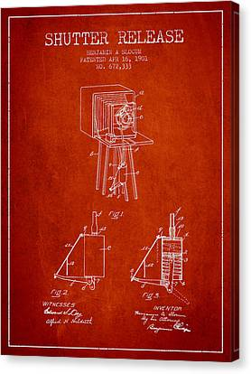 1901 Shutter Release Patent - Red Canvas Print by Aged Pixel