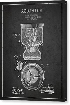 Fish Tanks Canvas Print - 1902 Aquarium Patent - Charcoal by Aged Pixel