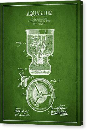 Fish Tanks Canvas Print - 1902 Aquarium Patent - Green by Aged Pixel