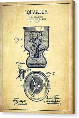 Fish Tanks Canvas Print - 1902 Aquarium Patent - Vintage by Aged Pixel