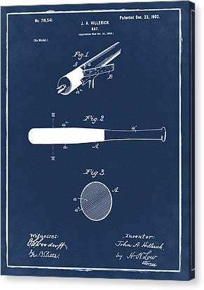 1902 Baseball Bat Patent In Blue Canvas Print by Bill Cannon