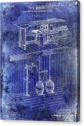 Stein Canvas Print - 1902 Beer Draft Patent Blue by Jon Neidert
