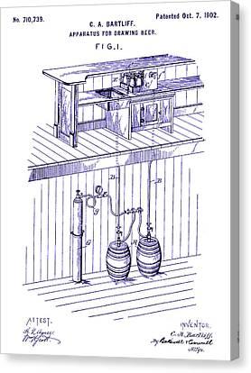 1902 Beer Draft Patent Blueprint Canvas Print