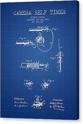 1902 Camera Self Time Patent - Blueprint Canvas Print by Aged Pixel
