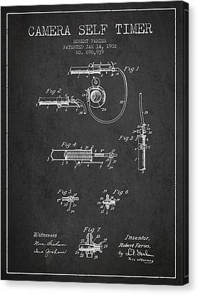 1902 Camera Self Timer Patent - Charcoal Canvas Print by Aged Pixel
