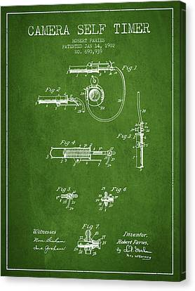 1902 Camera Self Time Patent - Green Canvas Print by Aged Pixel