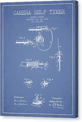 1902 Camera Self Time Patent - Light Blue Canvas Print by Aged Pixel