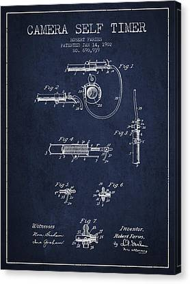 1902 Camera Self Timer Patent - Navy Blue Canvas Print by Aged Pixel