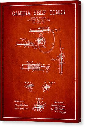 1902 Camera Self Timer Patent - Red Canvas Print by Aged Pixel
