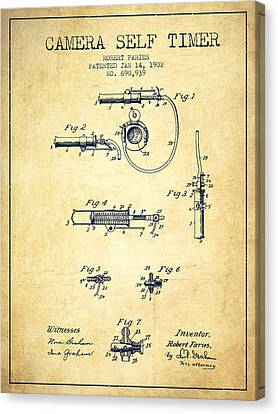 1902 Camera Self Time Patent - Vintage Canvas Print by Aged Pixel