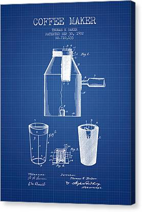 1902 Coffee Maker Patent - Blueprint Canvas Print