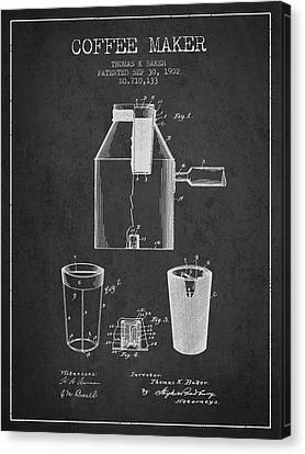 1902 Coffee Maker Patent - Charcoal Canvas Print by Aged Pixel