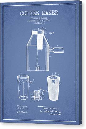 1902 Coffee Maker Patent - Light Blue Canvas Print