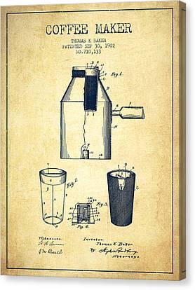 1902 Coffee Maker Patent - Vintage Canvas Print