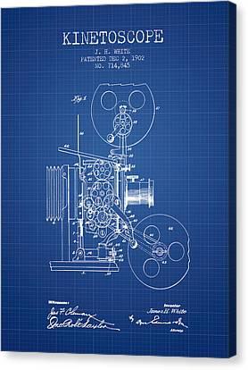 1902 Kinetoscope Patent - Blueprint Canvas Print by Aged Pixel