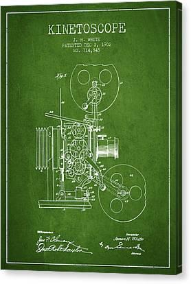 1902 Kinetoscope Patent - Green Canvas Print