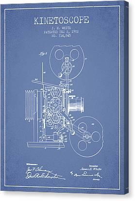 1902 Kinetoscope Patent - Light Blue Canvas Print