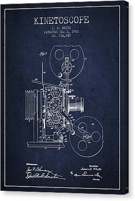 1902 Kinetoscope Patent - Navy Blue Canvas Print by Aged Pixel