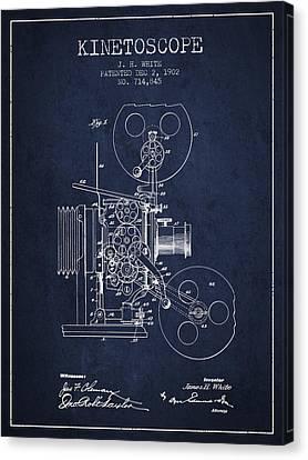 1902 Kinetoscope Patent - Navy Blue Canvas Print