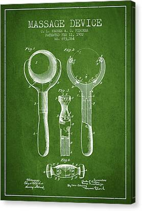 1902 Massage Device Patent - Green Canvas Print