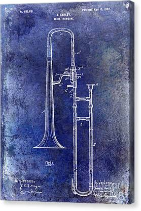 1902 Trombone Patent Blue Canvas Print by Jon Neidert