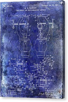 1902 Watchmakers Lathes Patent Blue Canvas Print