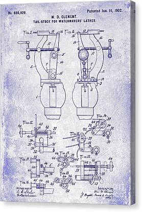 1902 Watchmakers Lathes Patent Blueprint Canvas Print