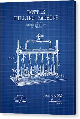 1903 Bottle Filling Machine Patent - Blueprint Canvas Print by Aged Pixel