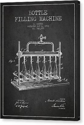 1903 Bottle Filling Machine Patent - Charcoal Canvas Print by Aged Pixel