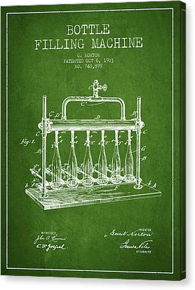 1903 Bottle Filling Machine Patent - Green Canvas Print by Aged Pixel