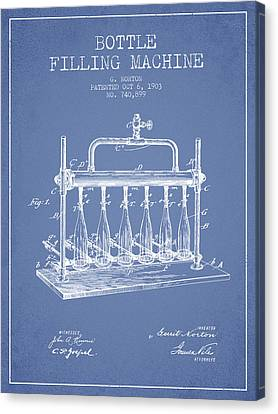 1903 Bottle Filling Machine Patent - Light Blue Canvas Print by Aged Pixel