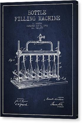 1903 Bottle Filling Machine Patent - Navy Blue Canvas Print by Aged Pixel