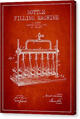 1903 Bottle Filling Machine Patent - Red Canvas Print by Aged Pixel