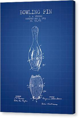 1903 Bowling Pin Patent - Blueprint Canvas Print by Aged Pixel