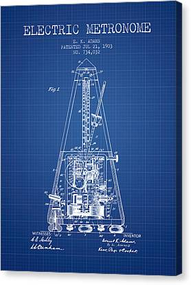 Celebrities Canvas Print - 1903 Electric Metronome Patent - Blueprint by Aged Pixel
