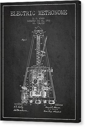 Celebrities Canvas Print - 1903 Electric Metronome Patent - Charcoal by Aged Pixel