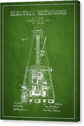 Celebrities Canvas Print - 1903 Electric Metronome Patent - Green by Aged Pixel