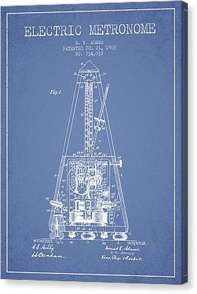 Celebrities Canvas Print - 1903 Electric Metronome Patent - Light Blue by Aged Pixel