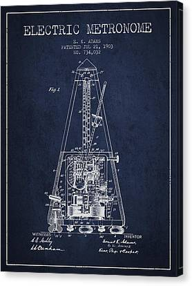 1903 Electric Metronome Patent - Navy Blue Canvas Print by Aged Pixel