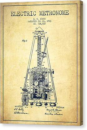 Celebrities Canvas Print - 1903 Electric Metronome Patent - Vintage by Aged Pixel
