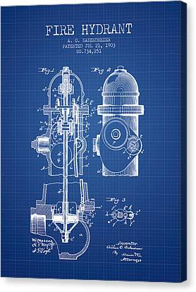 Fire Hydrant Canvas Print - 1903 Fire Hydrant Patent - Blueprint by Aged Pixel