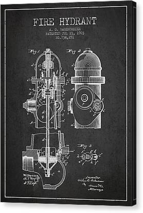 1903 Fire Hydrant Patent - Charcoal Canvas Print by Aged Pixel