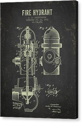 Fire Hydrant Canvas Print - 1903 Fire Hydrant Patent - Dark Grunge by Aged Pixel