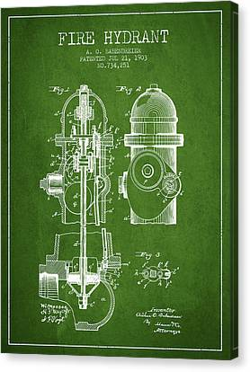 1903 Fire Hydrant Patent - Green Canvas Print by Aged Pixel
