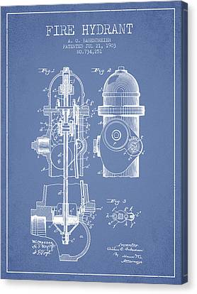 Fire Hydrant Canvas Print - 1903 Fire Hydrant Patent - Light Blue by Aged Pixel