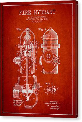 1903 Fire Hydrant Patent - Red Canvas Print by Aged Pixel