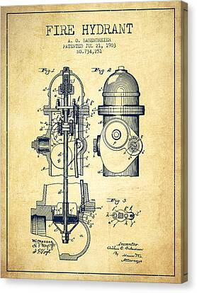 Fire Hydrant Canvas Print - 1903 Fire Hydrant Patent - Vintage by Aged Pixel