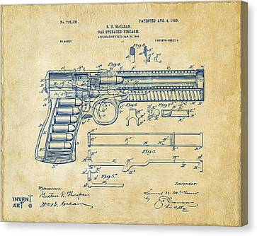 1903 Mcclean Pistol Patent Artwork - Vintage Canvas Print by Nikki Marie Smith