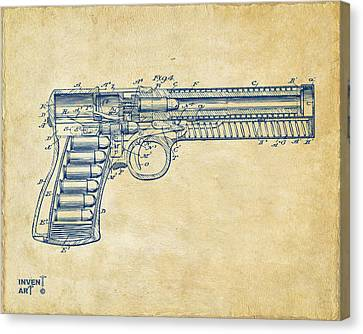 1903 Mcclean Pistol Patent Minimal - Vintage Canvas Print by Nikki Marie Smith