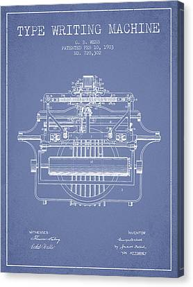 1903 Type Writing Machine Patent - Light Blue Canvas Print by Aged Pixel